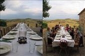 large group of people eating outdoor in tuscany